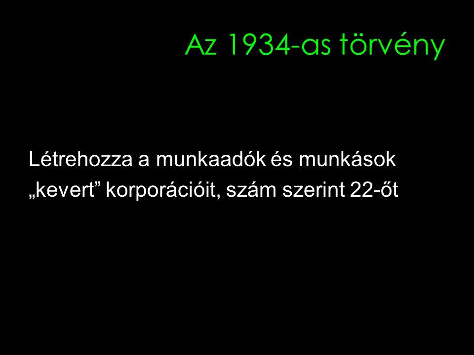 """24 Az 1934-as törvény Létrehozza a munkaadók és munkások """"kevert korporációit, szám szerint 22-őt"""