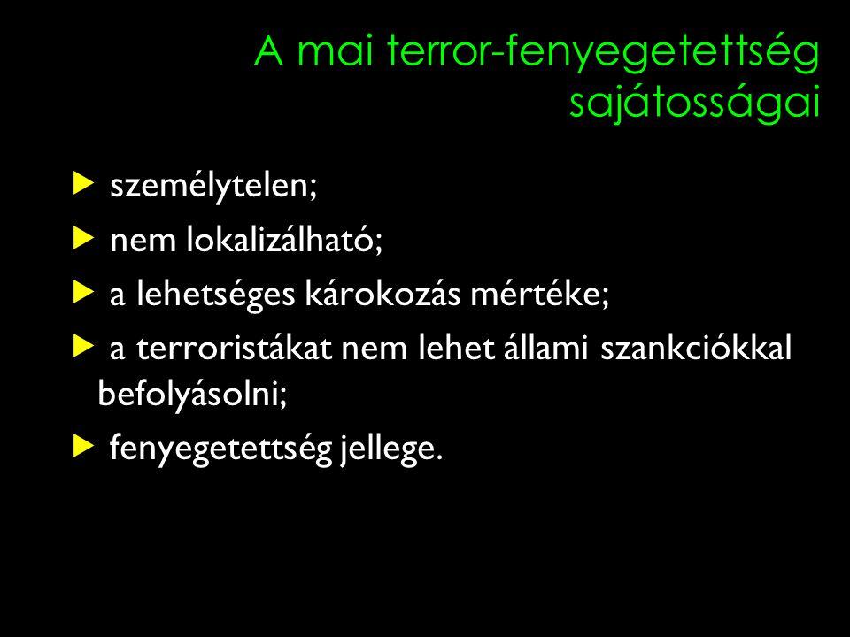 A mai terror-fenyegetettség sajátosságai  személytelen;  nem lokalizálható;  a lehetséges károkozás mértéke;  a terroristákat nem lehet állami szankciókkal befolyásolni;  fenyegetettség jellege.