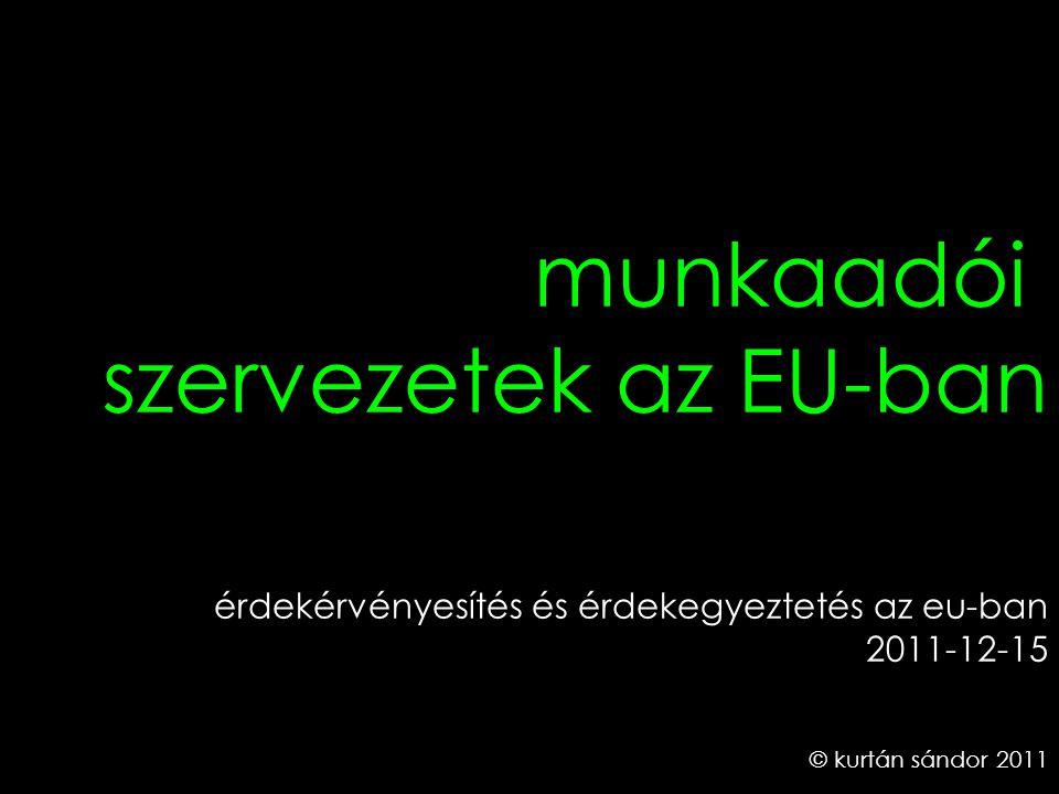 1 © kurtán sándor 2011 érdekérvényesítés és érdekegyeztetés az eu-ban 2011-12-15 munkaadói szervezetek az EU-ban