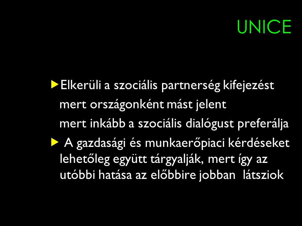 7 UNICE  Elkerüli a szociális partnerség kifejezést mert országonként mást jelent mert inkább a szociális dialógust preferálja  A gazdasági és munkaerőpiaci kérdéseket lehetőleg együtt tárgyalják, mert így az utóbbi hatása az előbbire jobban látsziok