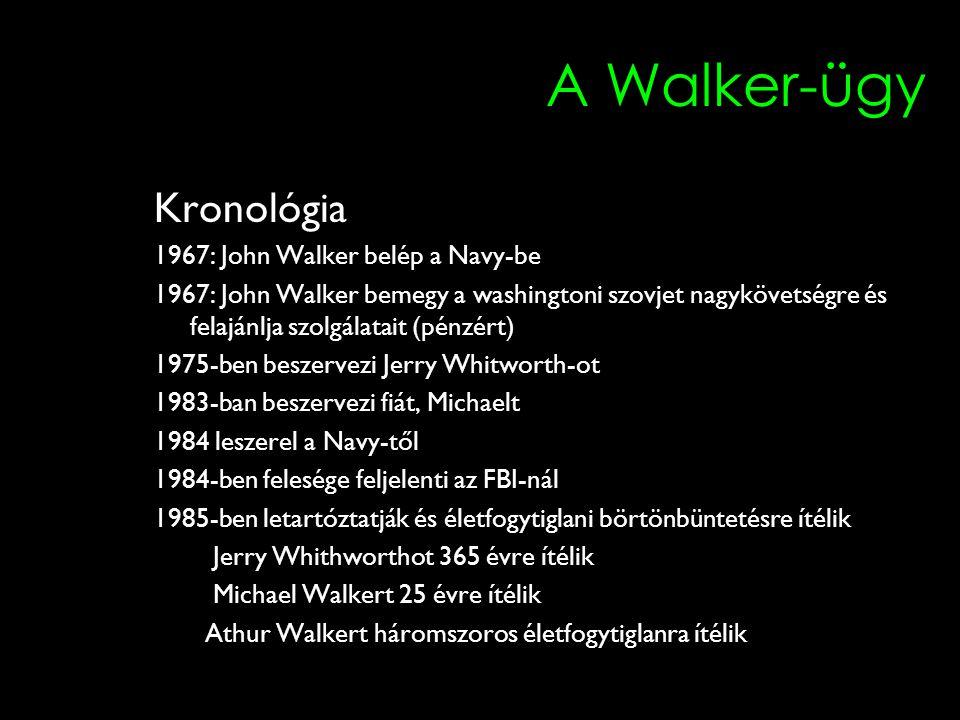 A Walker-ügy Kronológia 1967: John Walker belép a Navy-be 1967: John Walker bemegy a washingtoni szovjet nagykövetségre és felajánlja szolgálatait (pé