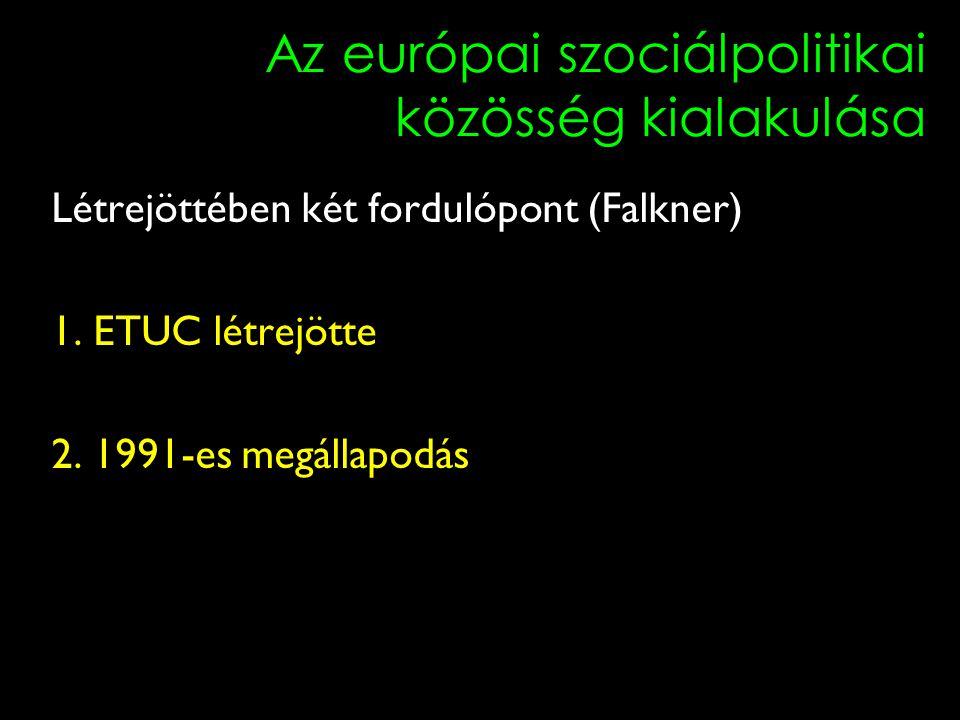 10 Az európai szociálpolitikai közösség kialakulása Létrejöttében két fordulópont (Falkner) 1. ETUC létrejötte 2. 1991-es megállapodás