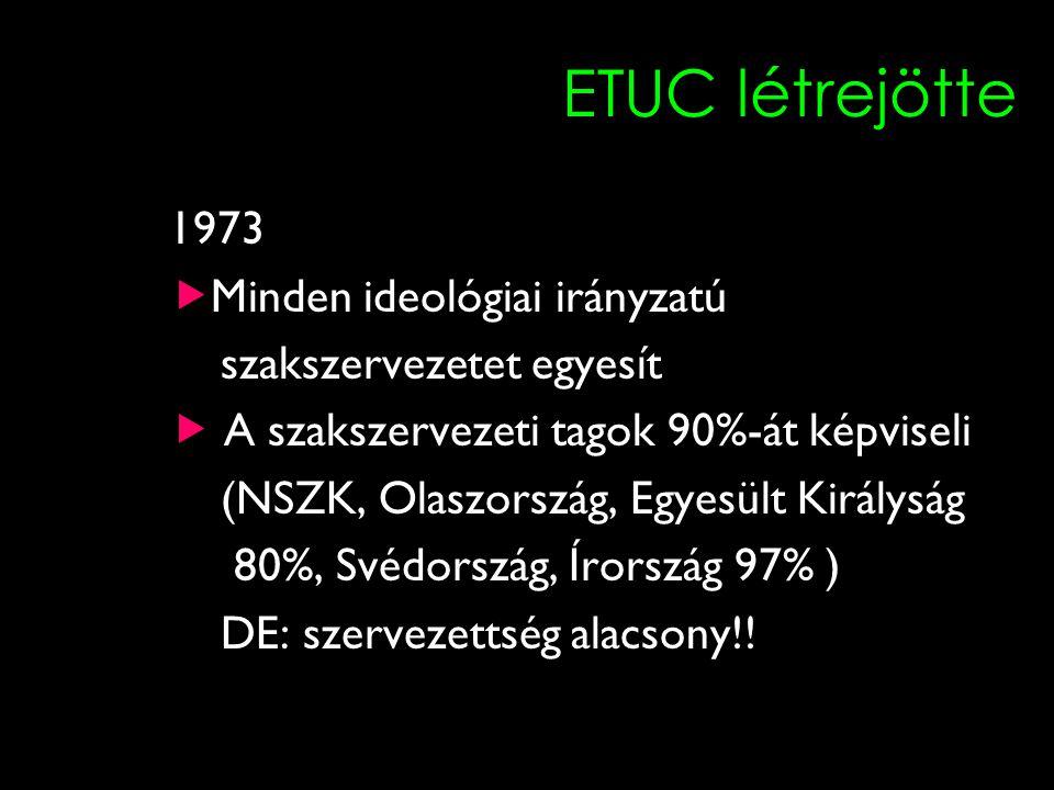 11 ETUC létrejötte 1973  Minden ideológiai irányzatú szakszervezetet egyesít  A szakszervezeti tagok 90%-át képviseli (NSZK, Olaszország, Egyesült Királyság 80%, Svédország, Írország 97% ) DE: szervezettség alacsony!!