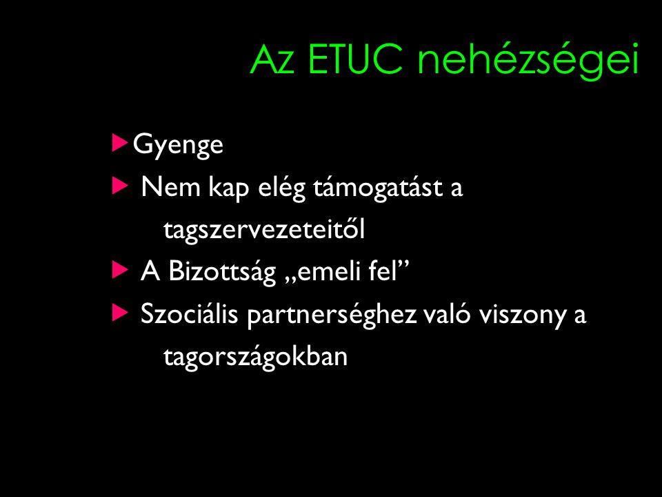 """14 Az ETUC nehézségei  Gyenge  Nem kap elég támogatást a tagszervezeteitől  A Bizottság """"emeli fel""""  Szociális partnerséghez való viszony a tagors"""