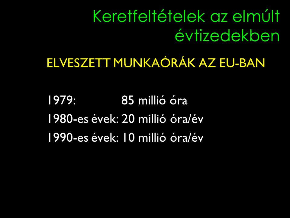 5 Keretfeltételek az elmúlt évtizedekben ELVESZETT MUNKAÓRÁK AZ EU-BAN 1979: 85 millió óra 1980-es évek: 20 millió óra/év 1990-es évek: 10 millió óra/