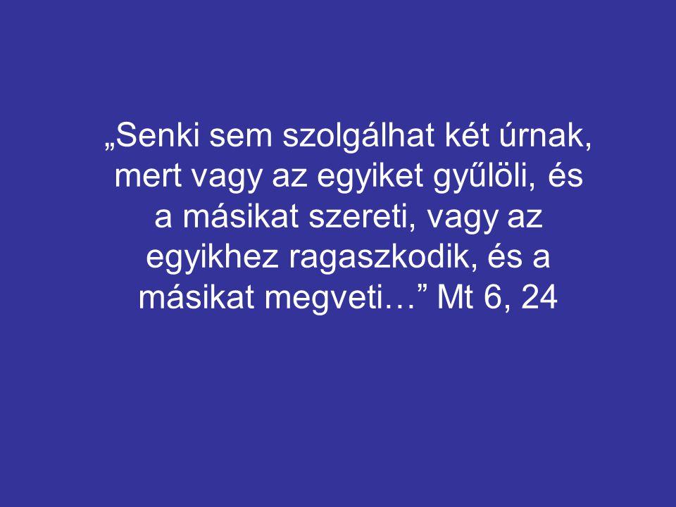 """""""Senki sem szolgálhat két úrnak, mert vagy az egyiket gyűlöli, és a másikat szereti, vagy az egyikhez ragaszkodik, és a másikat megveti… Mt 6, 24"""