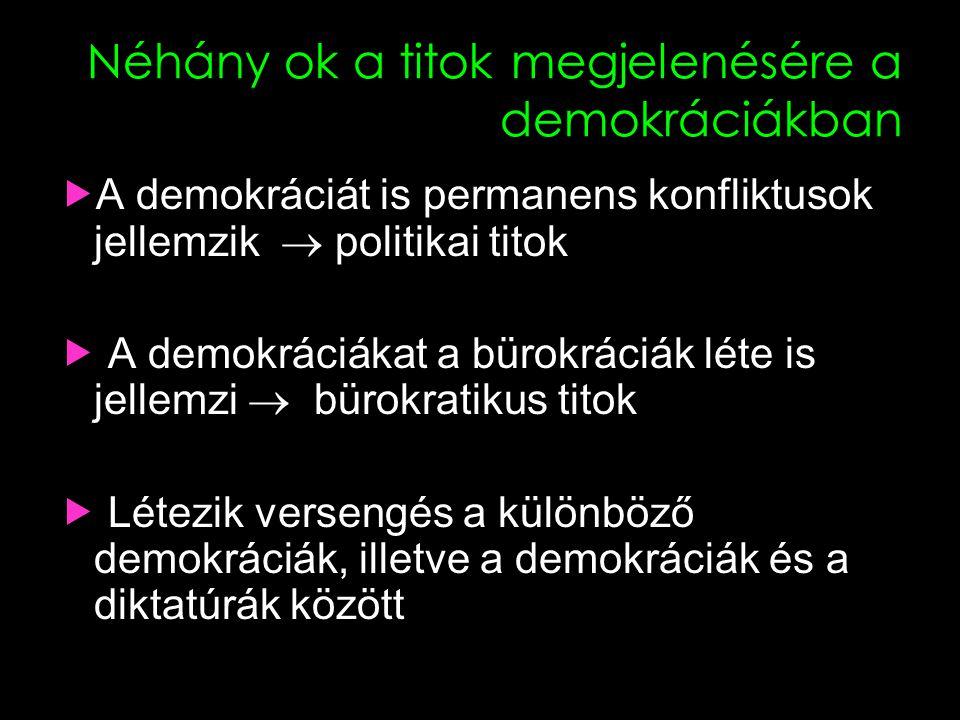 Néhány ok a titok megjelenésére a demokráciákban  A demokráciát is permanens konfliktusok jellemzik  politikai titok  A demokráciákat a bürokráciák léte is jellemzi  bürokratikus titok  Létezik versengés a különböző demokráciák, illetve a demokráciák és a diktatúrák között