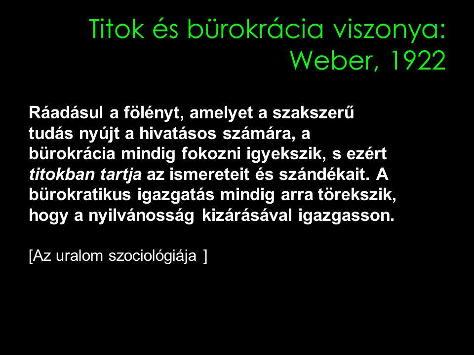 Titok és bürokrácia viszonya: Weber, 1922 Ráadásul a fölényt, amelyet a szakszerű tudás nyújt a hivatásos számára, a bürokrácia mindig fokozni igyekszik, s ezért titokban tartja az ismereteit és szándékait.