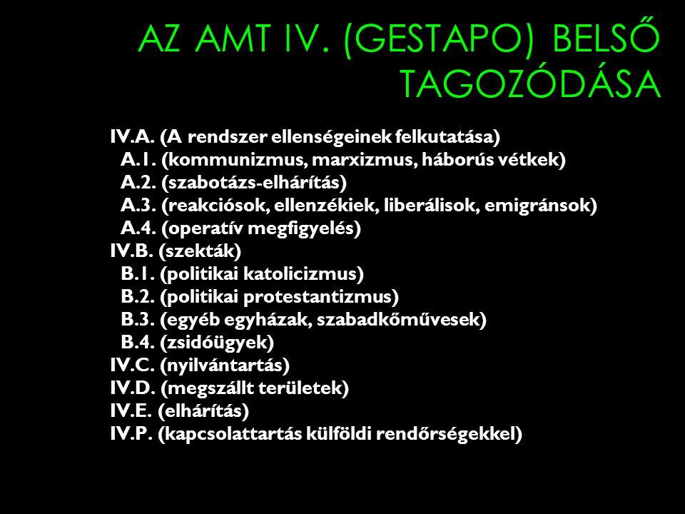 AZ AMT IV. (GESTAPO) BELSŐ TAGOZÓDÁSA IV.A. (A rendszer ellenségeinek felkutatása) A.1. (kommunizmus, marxizmus, háborús vétkek) A.2. (szabotázs-elhár