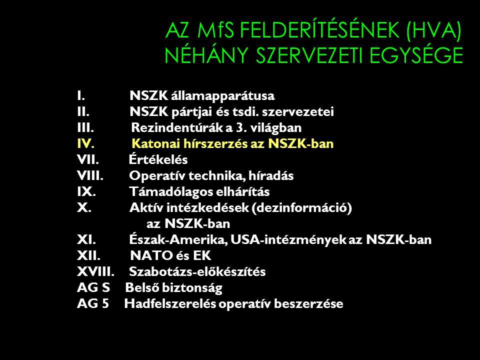 AZ MfS FELDERÍTÉSÉNEK (HVA) NÉHÁNY SZERVEZETI EGYSÉGE I. NSZK államapparátusa II. NSZK pártjai és tsdi. szervezetei III. Rezindentúrák a 3. világban I