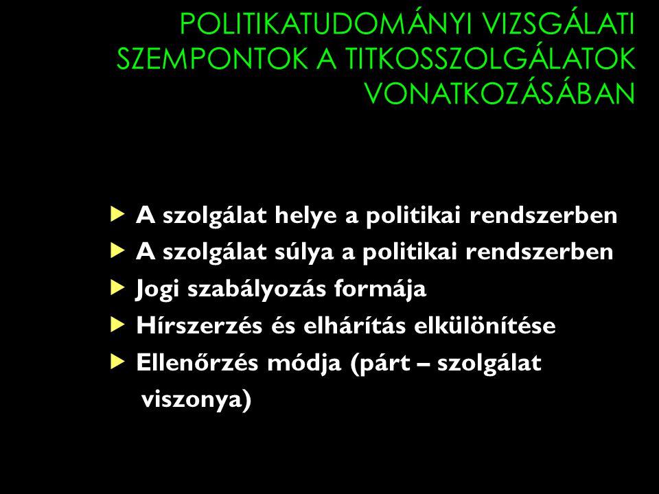 POLITIKATUDOMÁNYI VIZSGÁLATI SZEMPONTOK A TITKOSSZOLGÁLATOK VONATKOZÁSÁBAN  A szolgálat helye a politikai rendszerben  A szolgálat súlya a politikai rendszerben  Jogi szabályozás formája  Hírszerzés és elhárítás elkülönítése  Ellenőrzés módja (párt – szolgálat viszonya)