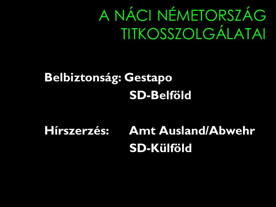 A NÁCI NÉMETORSZÁG TITKOSSZOLGÁLATAI Belbiztonság: Gestapo SD-Belföld Hírszerzés: Amt Ausland/Abwehr SD-Külföld