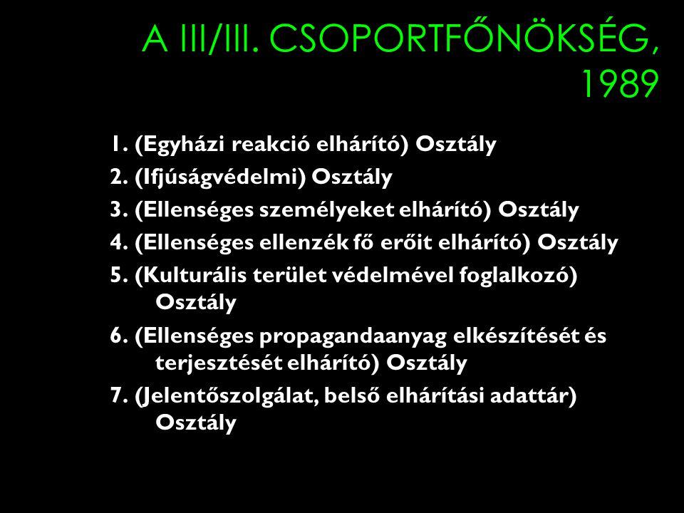 A III/III.CSOPORTFŐNÖKSÉG, 1989 1. (Egyházi reakció elhárító) Osztály 2.