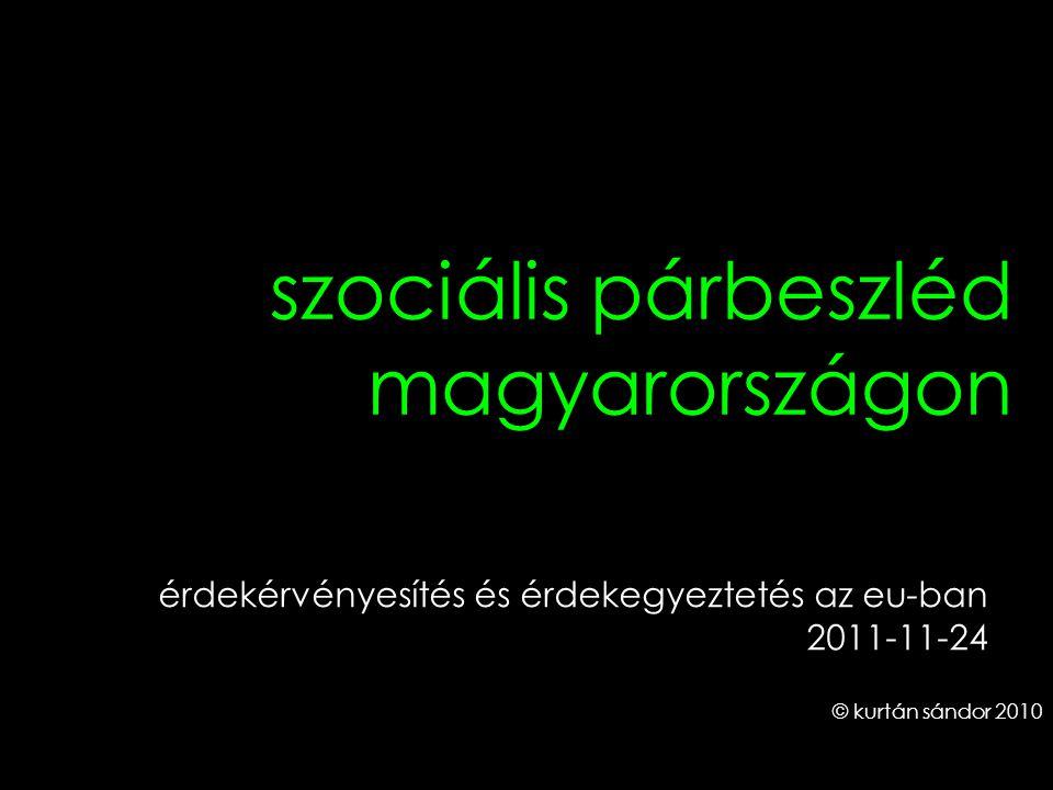 1 szociális párbeszléd magyarországon © kurtán sándor 2010 érdekérvényesítés és érdekegyeztetés az eu-ban 2011-11-24