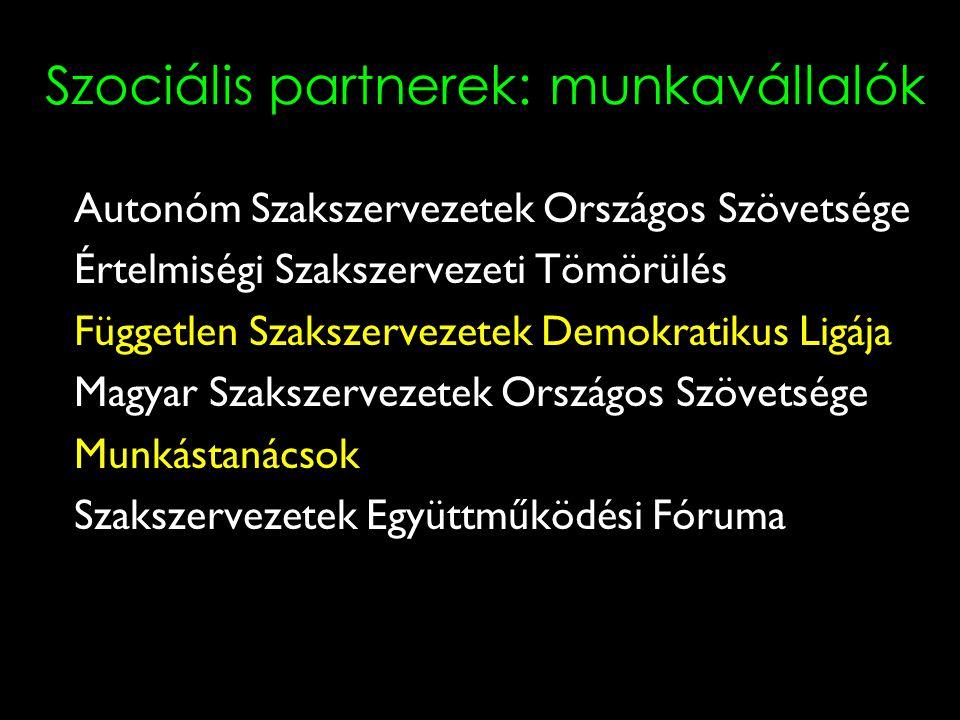 3 Szociális partnerek: munkavállalók Autonóm Szakszervezetek Országos Szövetsége Értelmiségi Szakszervezeti Tömörülés Független Szakszervezetek Demokratikus Ligája Magyar Szakszervezetek Országos Szövetsége Munkástanácsok Szakszervezetek Együttműködési Fóruma
