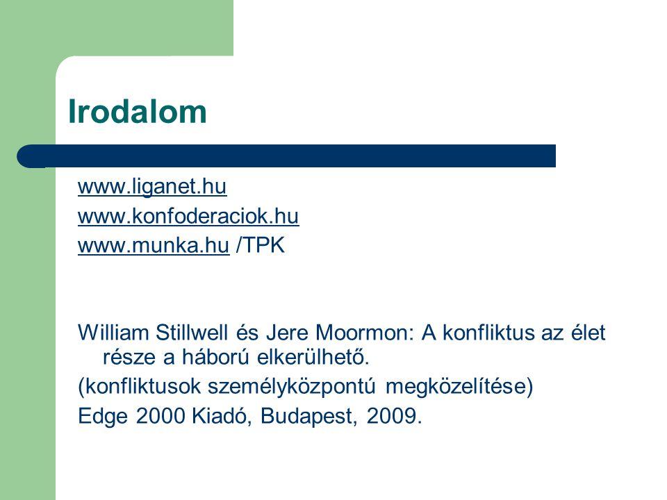 Irodalom www.liganet.hu www.konfoderaciok.hu www.munka.huwww.munka.hu /TPK William Stillwell és Jere Moormon: A konfliktus az élet része a háború elkerülhető.
