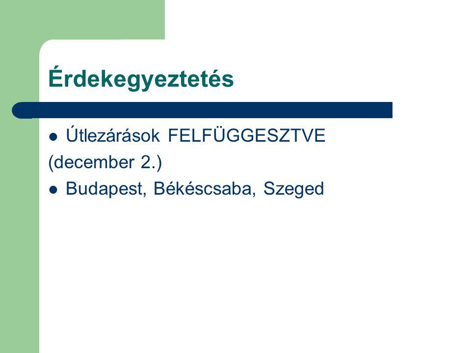 Érdekegyeztetés Útlezárások FELFÜGGESZTVE (december 2.) Budapest, Békéscsaba, Szeged