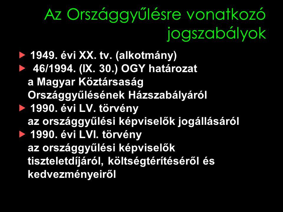Az Országgyűlésre vonatkozó jogszabályok  1949.évi XX.
