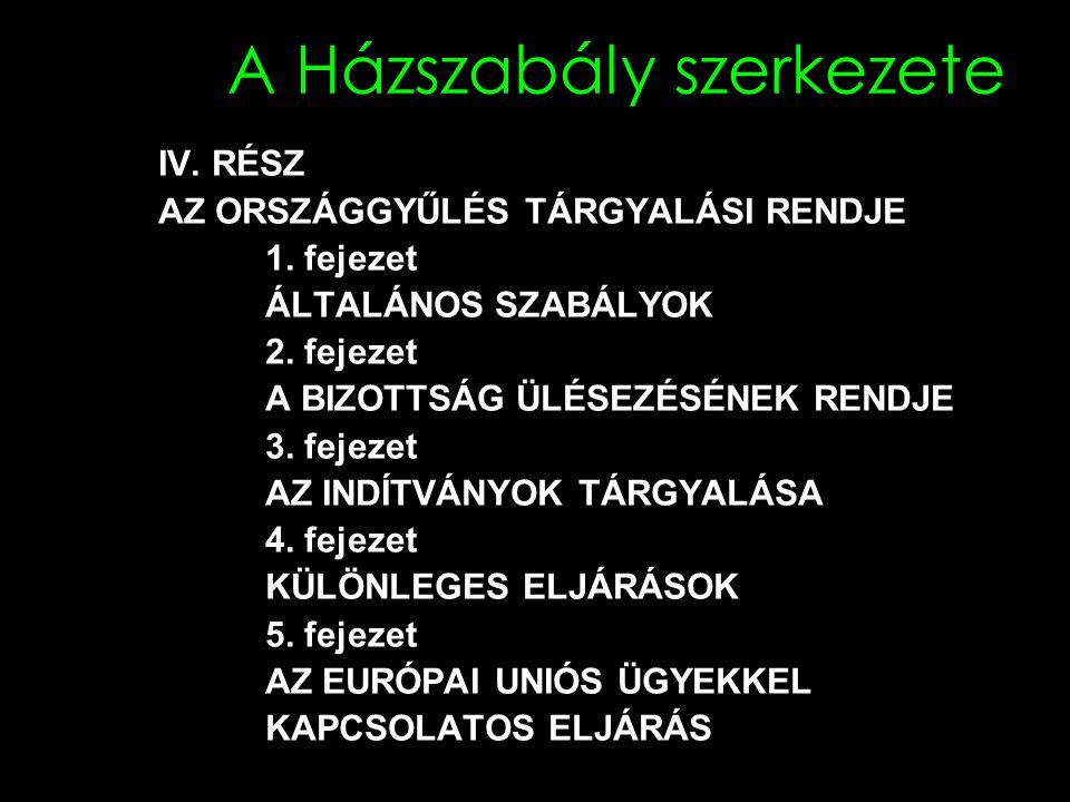 A Házszabály szerkezete IV.RÉSZ AZ ORSZÁGGYŰLÉS TÁRGYALÁSI RENDJE 1.