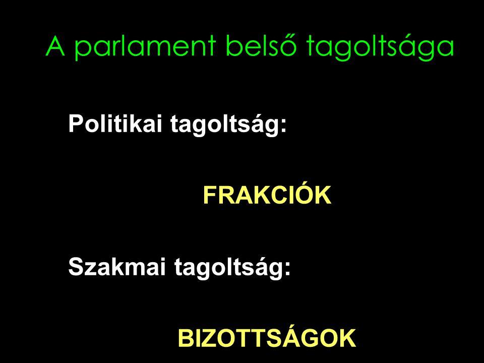 A parlament belső tagoltsága Politikai tagoltság: FRAKCIÓK Szakmai tagoltság: BIZOTTSÁGOK