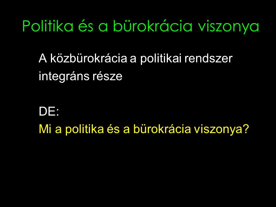 Politika és a bürokrácia viszonya A közbürokrácia a politikai rendszer integráns része DE: Mi a politika és a bürokrácia viszonya