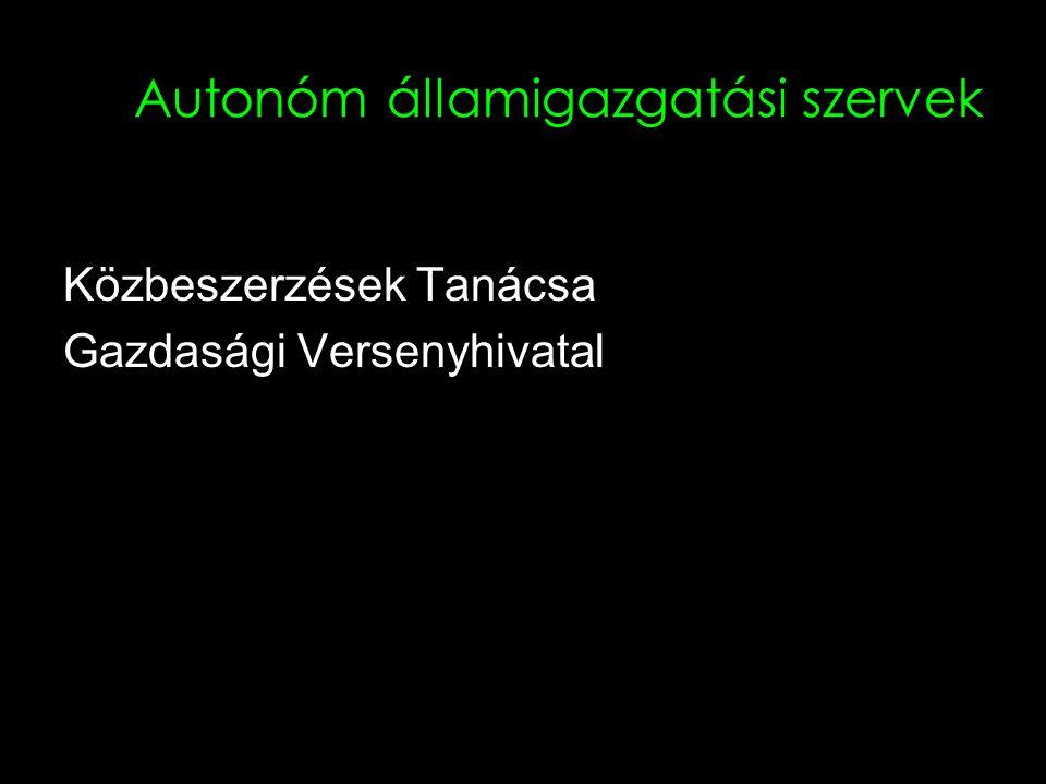 Autonóm államigazgatási szervek Közbeszerzések Tanácsa Gazdasági Versenyhivatal