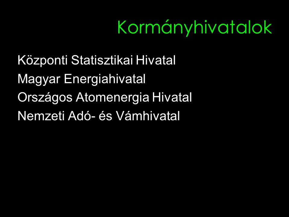 Kormányhivatalok Központi Statisztikai Hivatal Magyar Energiahivatal Országos Atomenergia Hivatal Nemzeti Adó- és Vámhivatal