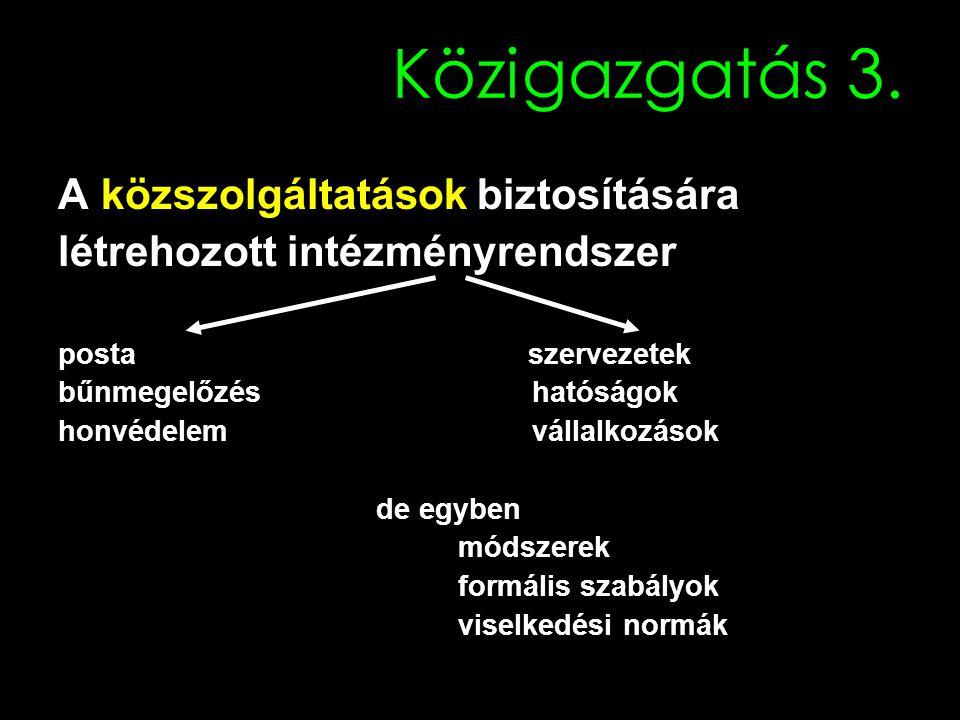 Politika és a bürokrácia viszonya Hagyományos modell (Weber): Politika: célok megfogalmazása (outputok meghatározása) Bürokrácia: átültetés a gyakorlatba (nem problematizálja a célokat) Azaz ALÁRENDELTSÉGI VISZONY
