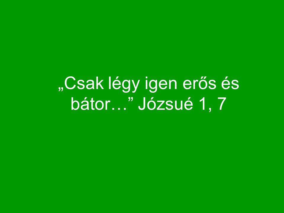 """""""Csak légy igen erős és bátor… Józsué 1, 7"""