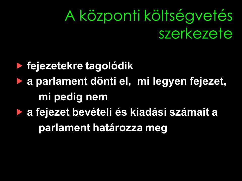 A központi költségvetés szerkezete  fejezetekre tagolódik  a parlament dönti el, mi legyen fejezet, mi pedig nem  a fejezet bevételi és kiadási számait a parlament határozza meg