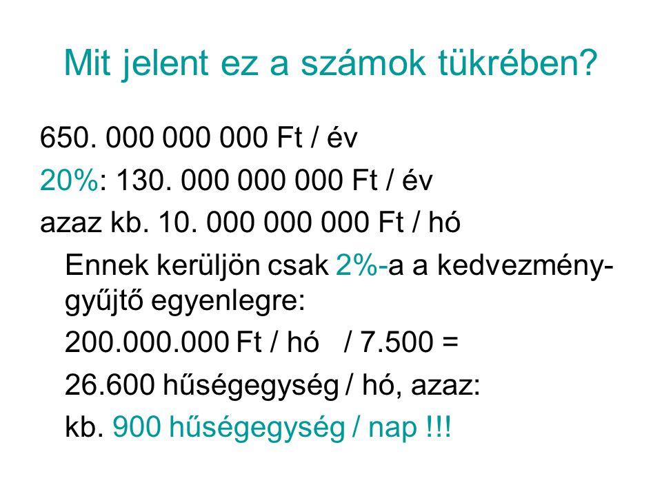 Mit jelent ez a számok tükrében. 650. 000 000 000 Ft / év 20%: 130.