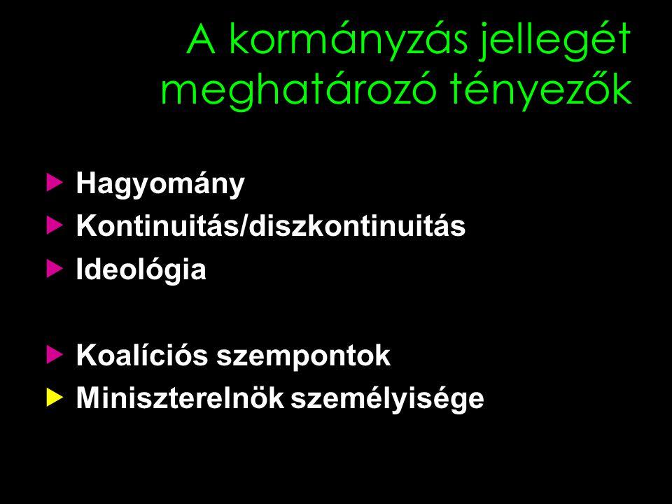 A kormányzás jellegét meghatározó tényezők  Hagyomány  Kontinuitás/diszkontinuitás  Ideológia  Koalíciós szempontok  Miniszterelnök személyisége