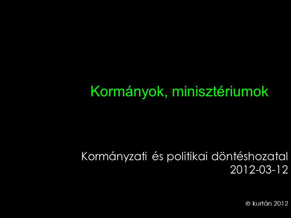 Kormányok, minisztériumok Kormányzati és politikai döntéshozatal 2012-03-12  kurtán 2012