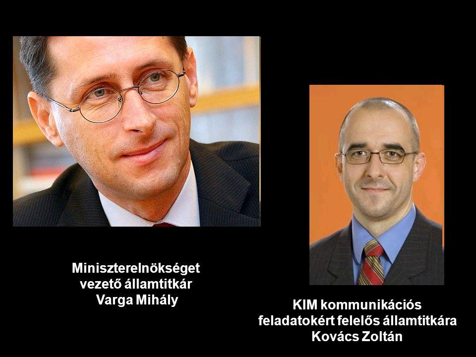 Miniszterelnökséget vezető államtitkár Varga Mihály KIM kommunikációs feladatokért felelős államtitkára Kovács Zoltán