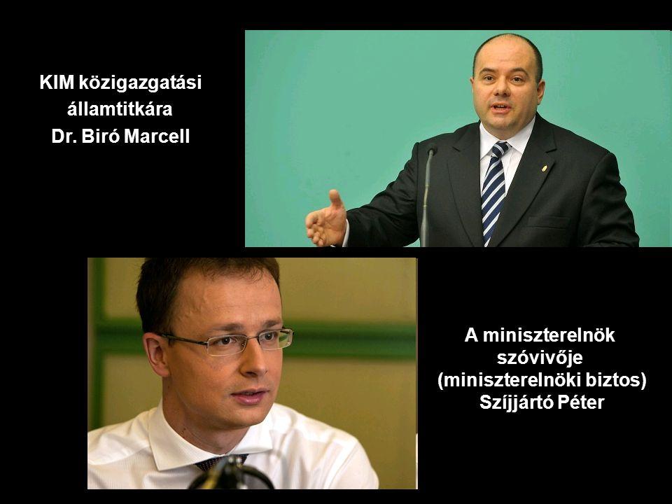 KIM közigazgatási államtitkára Dr. Biró Marcell A miniszterelnök szóvivője (miniszterelnöki biztos) Szíjjártó Péter