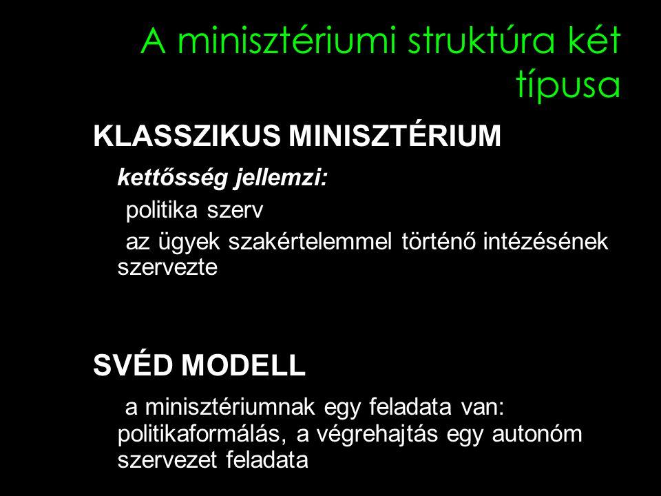 A minisztériumi struktúra két típusa KLASSZIKUS MINISZTÉRIUM kettősség jellemzi: politika szerv az ügyek szakértelemmel történő intézésének szervezte