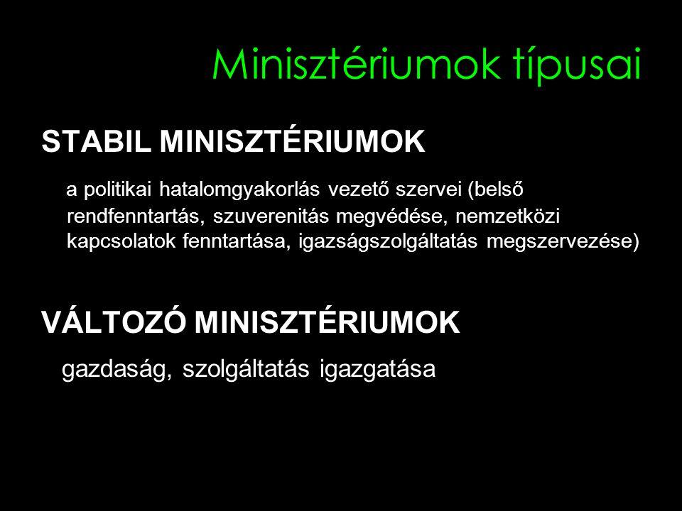 Minisztériumok típusai STABIL MINISZTÉRIUMOK a politikai hatalomgyakorlás vezető szervei (belső rendfenntartás, szuverenitás megvédése, nemzetközi kap