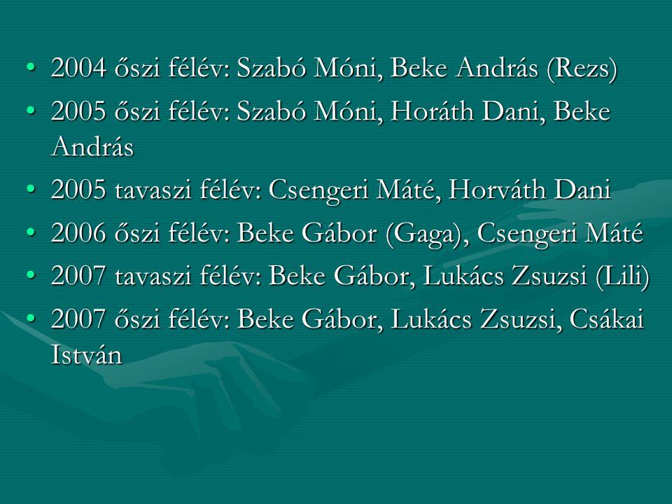 2004 őszi félév: Szabó Móni, Beke András (Rezs)2004 őszi félév: Szabó Móni, Beke András (Rezs) 2005 őszi félév: Szabó Móni, Horáth Dani, Beke András20