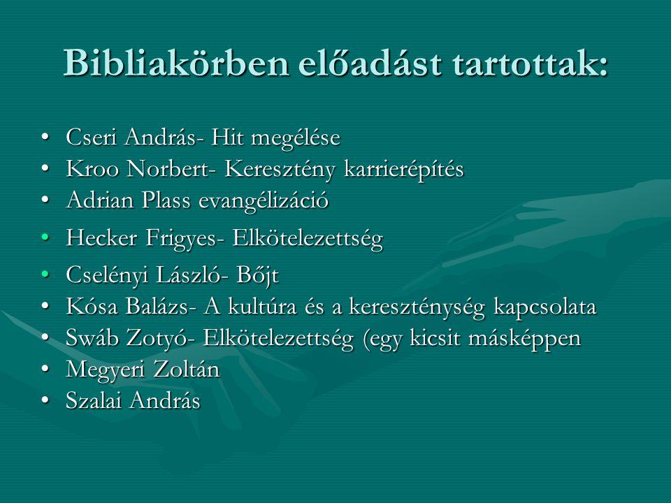 Bibliakörben előadást tartottak: Cseri András- Hit megéléseCseri András- Hit megélése Kroo Norbert- Keresztény karrierépítésKroo Norbert- Keresztény k