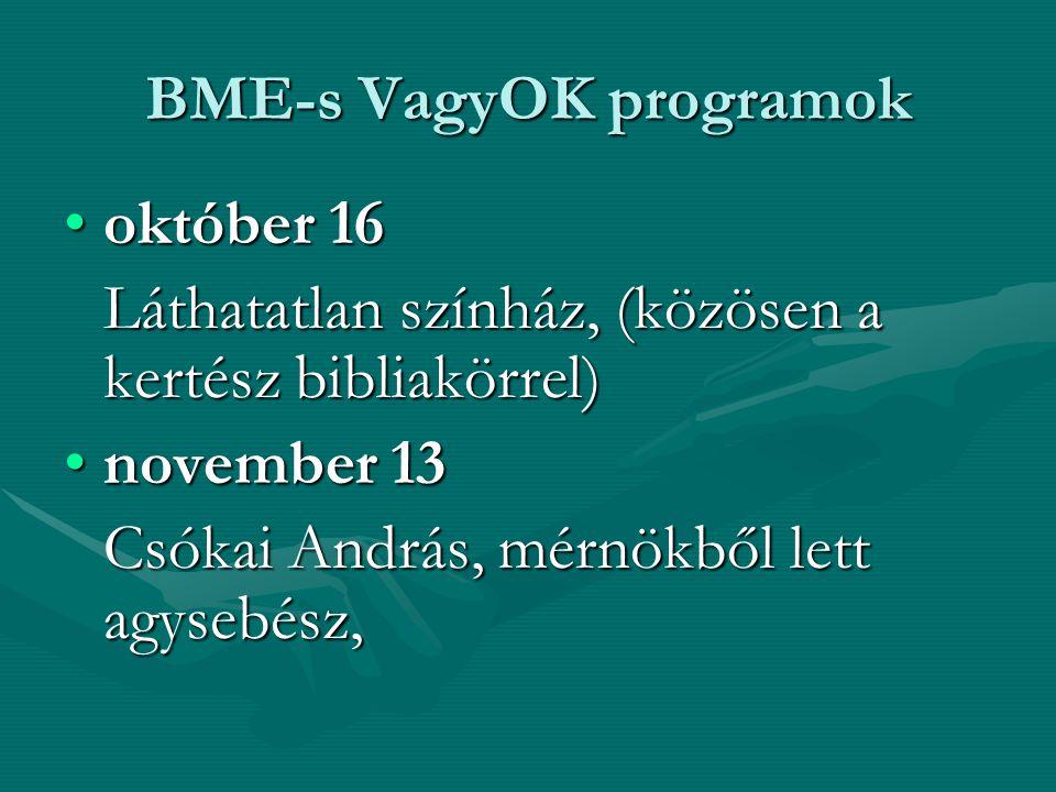 BME-s VagyOK programok október 16október 16 Láthatatlan színház, (közösen a kertész bibliakörrel) november 13november 13 Csókai András, mérnökből lett