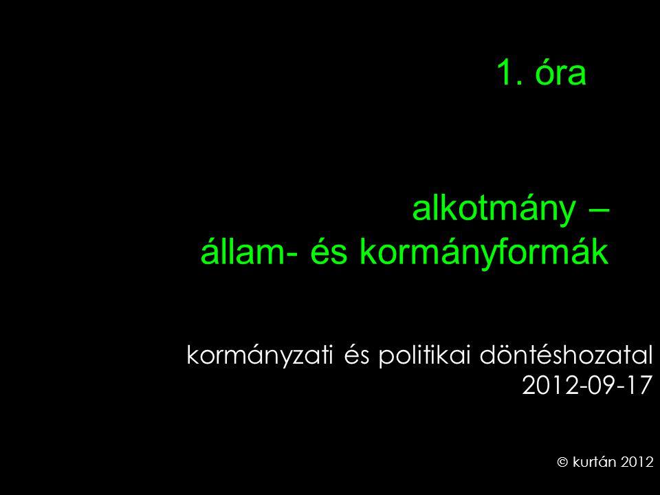 alkotmány – állam- és kormányformák kormányzati és politikai döntéshozatal 2012-09-17  kurtán 2012 1. óra