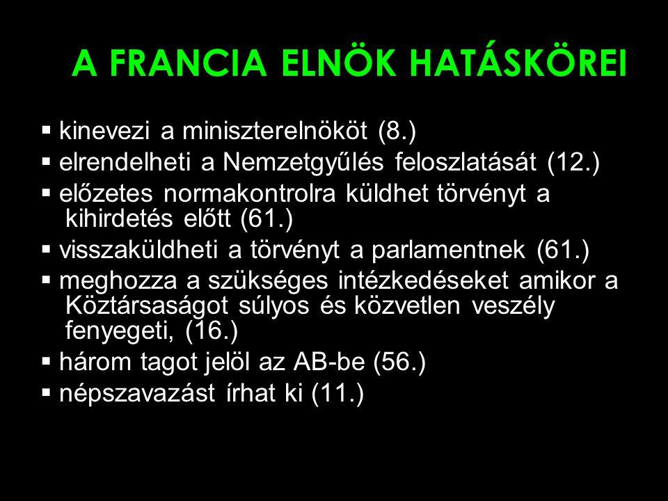 A FRANCIA ELNÖK HATÁSKÖREI  kinevezi a miniszterelnököt (8.)  elrendelheti a Nemzetgyűlés feloszlatását (12.)  előzetes normakontrolra küldhet törv