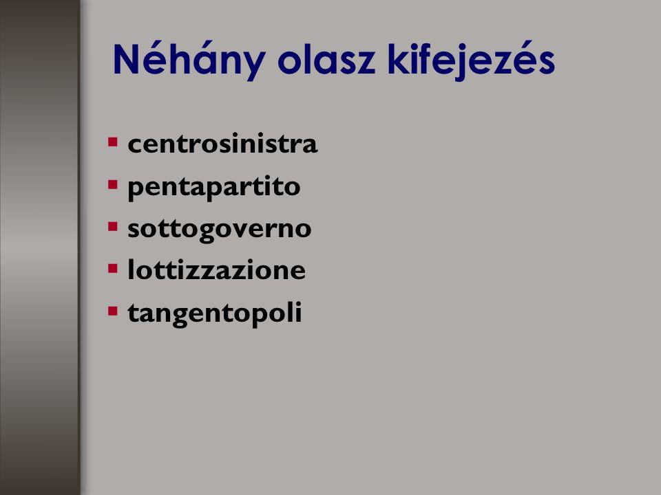 Néhány olasz kifejezés  centrosinistra  pentapartito  sottogoverno  lottizzazione  tangentopoli