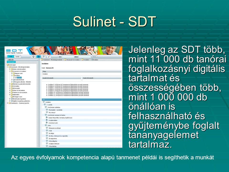 Sulinet - SDT Jelenleg az SDT több, mint 11 000 db tanórai foglalkozásnyi digitális tartalmat és összességében több, mint 1 000 000 db önállóan is felhasználható és gyűjteménybe foglalt tananyagelemet tartalmaz.