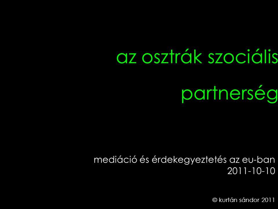 1 az osztrák szociális partnerség © kurtán sándor 2011 mediáció és érdekegyeztetés az eu-ban 2011-10-10