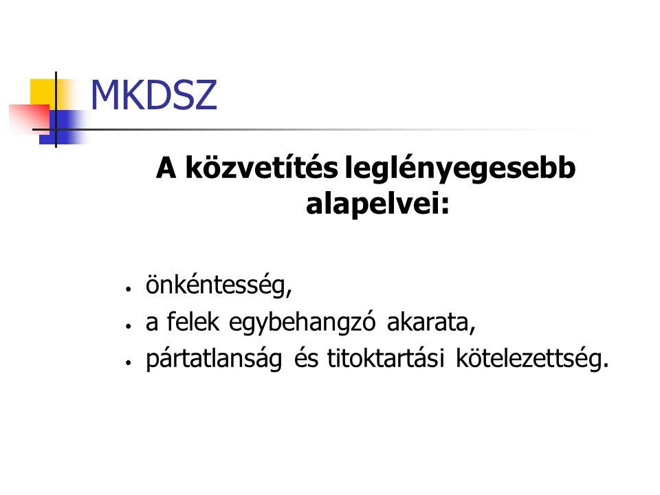 MKDSZ A közvetítés leglényegesebb alapelvei: önkéntesség, a felek egybehangzó akarata, pártatlanság és titoktartási kötelezettség.