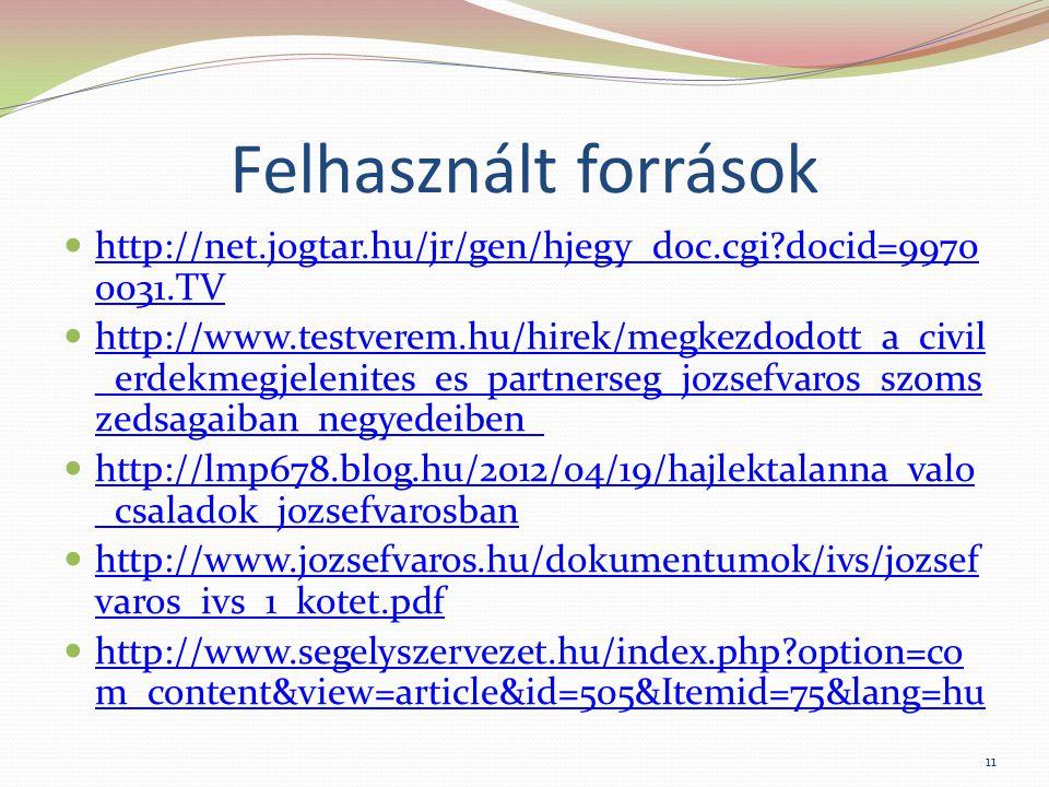 Felhasznált források http://net.jogtar.hu/jr/gen/hjegy_doc.cgi?docid=9970 0031.TV http://net.jogtar.hu/jr/gen/hjegy_doc.cgi?docid=9970 0031.TV http://