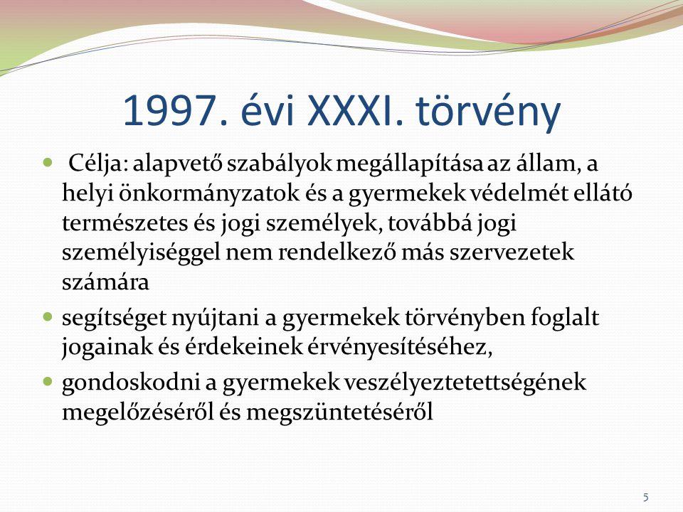1997. évi XXXI. törvény Célja: alapvető szabályok megállapítása az állam, a helyi önkormányzatok és a gyermekek védelmét ellátó természetes és jogi sz