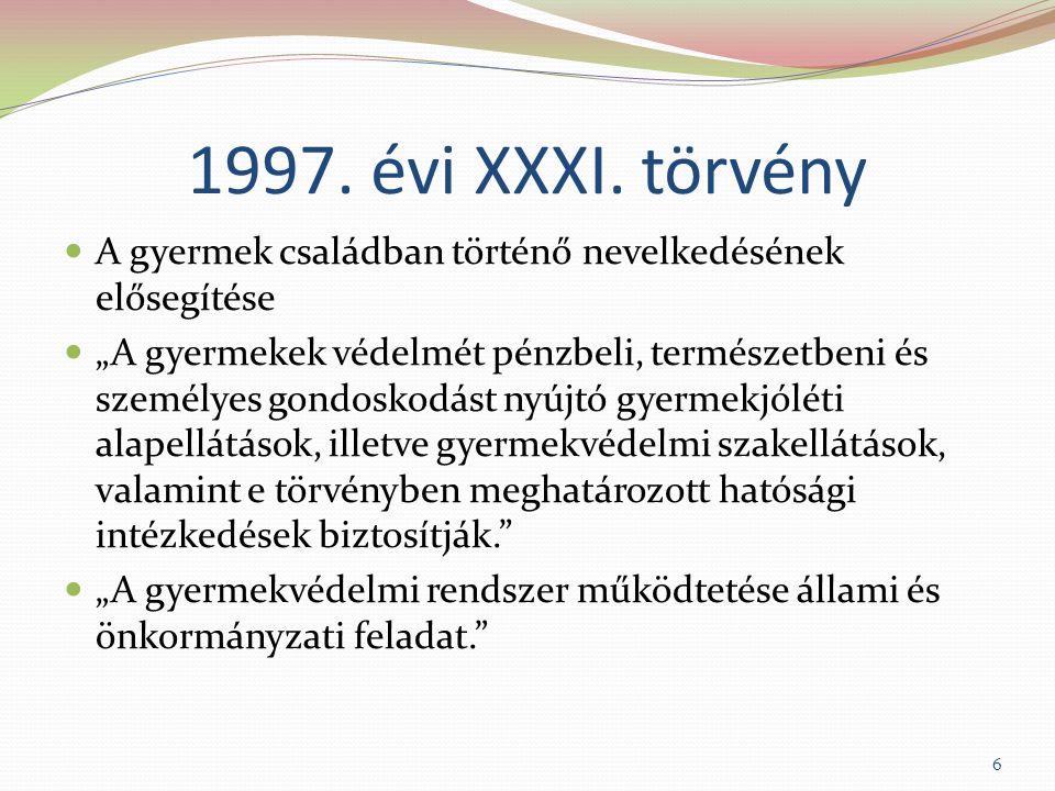 """1997. évi XXXI. törvény A gyermek családban történő nevelkedésének elősegítése """"A gyermekek védelmét pénzbeli, természetbeni és személyes gondoskodást"""