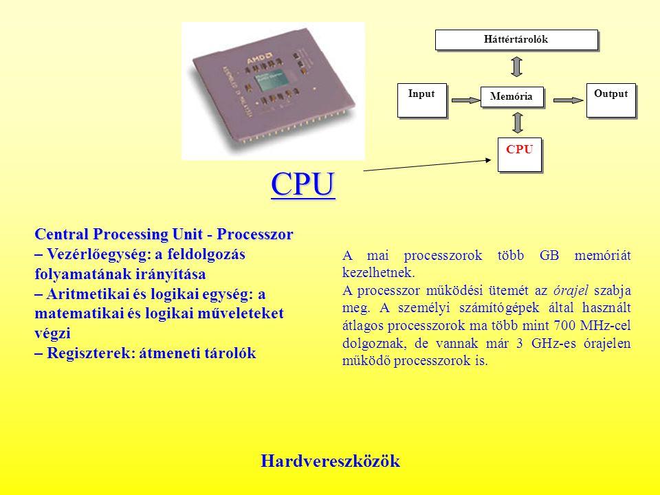 Hardvereszközök CPU Central Processing Unit - Processzor Central Processing Unit - Processzor – Vezérlőegység: a feldolgozás folyamatának irányítása – Aritmetikai és logikai egység: a matematikai és logikai műveleteket végzi – Regiszterek: átmeneti tárolók A mai processzorok több GB memóriát kezelhetnek.